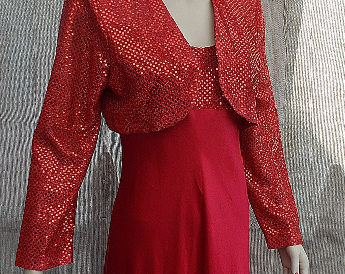 Vintage 90s Fiesta Red Metallic Polyester Special Occasion Womens Party Prom Sleeveless Full Length Maxi Dress & Bolero Jacket