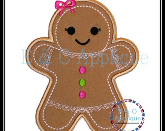 Gingerbread Embroidery Design - Gingerbread Girl Applique Design - Gingerbread Applique - Christmas Applique Design - Christmas Embroidery