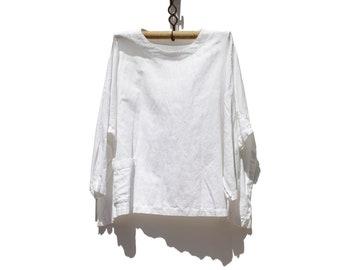 Vintage White Linen Oversized Minimalist Top