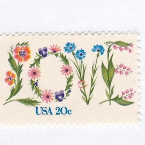 Qty of 10 Love .20 cent unused 1982 vintage postage stamps, These stamp are in excellent, unused, unhinged condition.