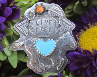 Live Free Ring  MADE TO ORDER - Stamped Sterling  Horse Turquoise Heart Cowgirl Southwestern Jewelry