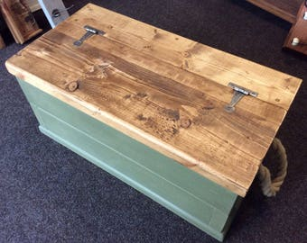 Solid Chunky Coffee Table Chest- Annie Sloan Olive