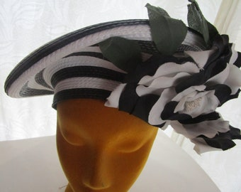 Striped Platter Straw Beret Hat Whittail Shon Derby Church Easter Silk Flower