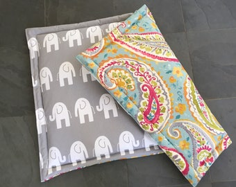 Dog Training Mat || Comfy Extra Extra Large Crate Bed Stylish Bright Paisley Pad || Custom Lilly Inspired Elephants by Three Spoiled Dogs