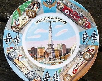 Vintage 1950's Indianapolis Indiana Racing Collectible Decorative Plate