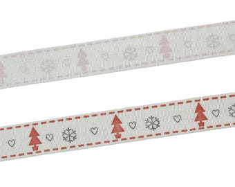 10 m Ribbon cotton pattern tree of Christmas 15 mm - SC70595 jewelry - scrapbooking