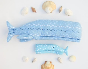 Stuffed whale toys softie plush blue whales two whales big and small child friendly soft toys nursery decor baby shower gift idea