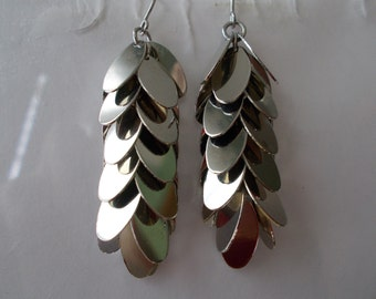 Silver Tone Layered Earrings with Teardrop Metal Beads