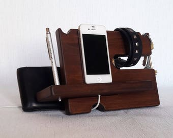 Wooden anniversary gifts for men Nightstand organizer Charging station Bedside organizer station Bedside organizer Phone docking station