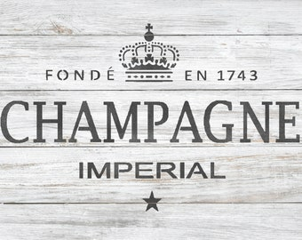 CHAMPAGNE LABEL STENCIL - French Vintage Label Wall Floor Furniture Craft Stencil for Painting - CHAM01