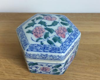 Hexagonal Floral Trinket Box