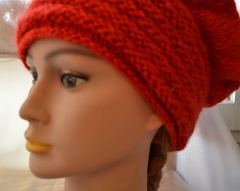 Red hand knitted Hat