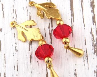 Red, Bead Dangles, Swarovski Bead Dangles,Earring Bead Dangles, 2 pieces //BD-037