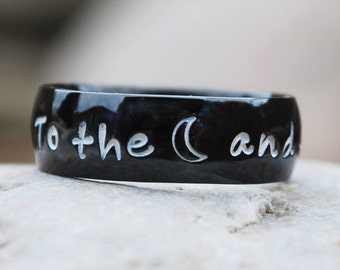 Black Personalized Name Ring, Personalized Ring, Hand Stamped Shiny Black Ring, Name Ring, Stainless Steel Comfort Fit Ring