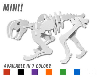 Dinosaur Puzzle, Dinosaur Toy, MINIATURE 3D Dinosaur Skeleton Puzzle, Recyclable PVC Smilodon, Choice of 7 Colors! Saber Tooth Tiger Toy