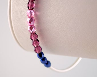 Silver Bangle, Navy Blue Purple Pink Czech Glass, Beaded Stacking Bracelet, Silver Plated Jewelry