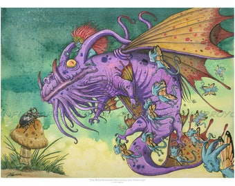 """DRAGON-Signed Titled Archival Giclée Fine FANTASY Art PRINT Of Watercolor Painting-The Wind Whispered Salamanka 24""""x 18"""" by Fian Arroyo"""