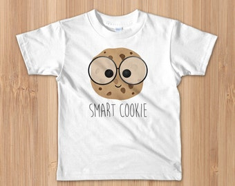 Funny Kids T-Shirt - Smart Cookie - Toddler Tee Smarty Chocolate Chip Cookies Food Pun Smarty Pants Glasses Yummy Intelligent School Gift