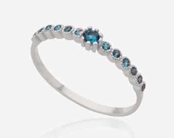 gemstone ring silver Stacking ring blue topaz ring multistone ring birthstone ring blue stone ring delicate ring promise ring bezel ring