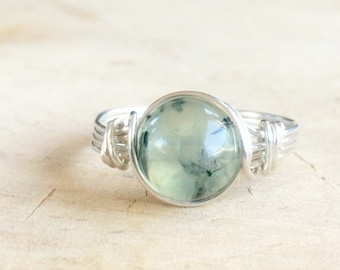 Prehnite Ring, Sterling Silver Filled Gemstone Ring, Wire Wrapped Ring, Stone Ring