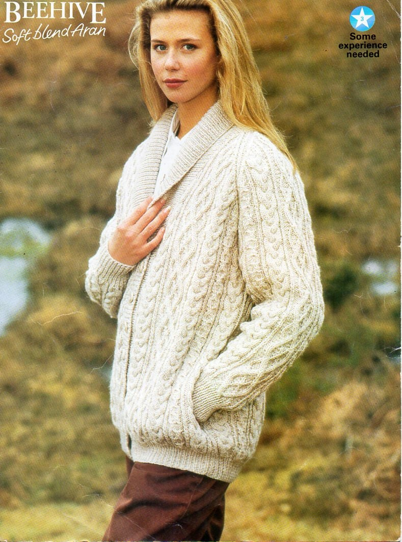 ladies aran jacket knitting pattern pdf womens shawl collar
