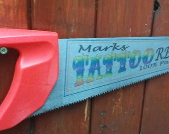 Personalised Garage, Shed or Mancave Sign - made from a saw!