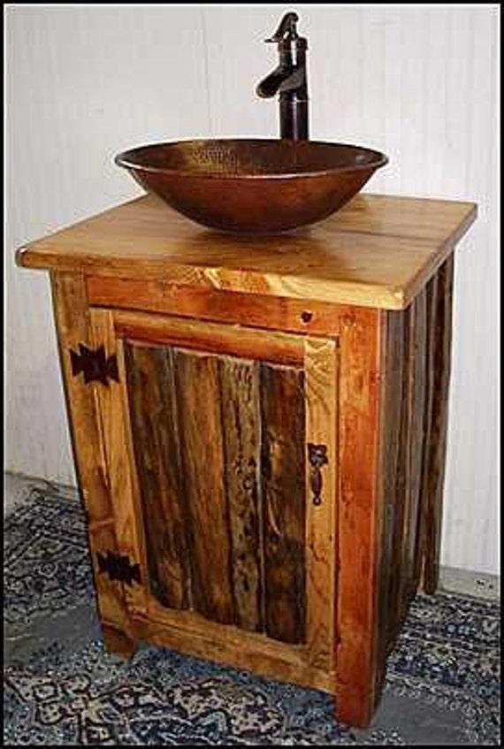 """Rustic LOG Bathroom Vanity - MS1373-25 - Pump Faucet - 25"""" - Bathroom Vanity - Copper Sink - Rustic Bathroom Vanity - Bathroom Vanities"""