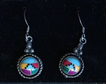 Lovely vintage Sterling silver southwestern motif medallion earrings - zuni pueblo kachina design - turquoise, jade multi gemstone inlay