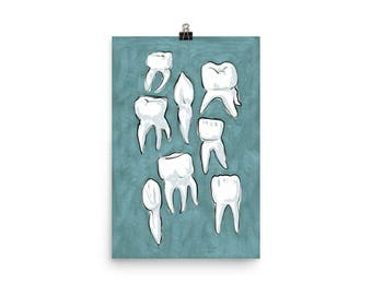 Molar Pattern - Teal / Dental Art Print
