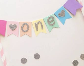 Bunting Cake Topper - Pastel Rainbow with silver glitter ONE