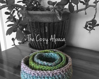Colorful Crochet Nesting Bowls