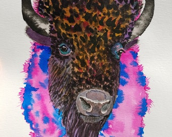 Original watercolor painting, bison art, buffalo painting, abstract watercolor, wildlife art, animal art