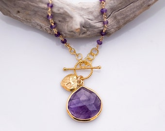 Lariat Necklace - Purple Amethyst Necklace - Wire wrapped Amethyst and Heart Charm Necklace - February Birthstone