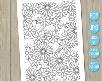 Colouring printable flowers printable adult colouring page adult coloring book flower garden flower art therapy flower design colour therapy