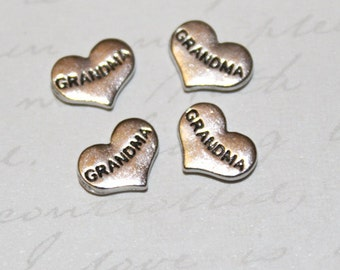 Silver or Gold Grandma Floating Locket Charm for Magnetic Floating Charm Glass Living Memory Lockets & Necklaces