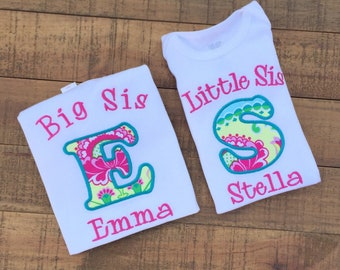 Big Sister Little Sister Outfits - Big Sister Shirt - Big Sister Gift - Big Sister Shirt Announcement - Pink and Blue Sister Shirt