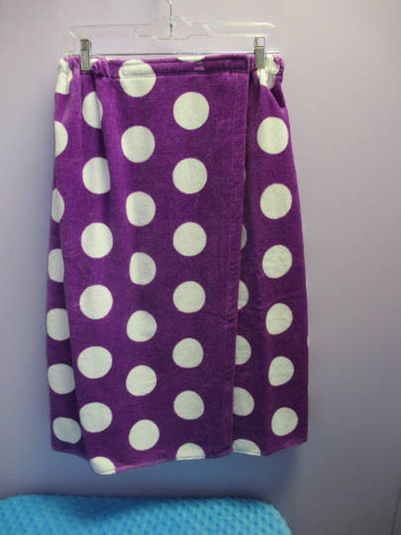 Spa Wrap Plus Size Womens Purple Polka Dot Towel Wrap-FREE SHIPPING