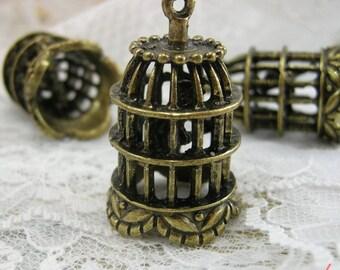 1 - Large Birdcage Pendant Charm Anitque Bronze Birdcage BIRD INSIDE Bird cage Charm Vintage Style Pendant Charm Jewelry Supplies (BD104)