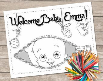 Baby Shower Coloring Pages, Baby Shower Party, Baby Shower Activity, Baby Party Favor Table