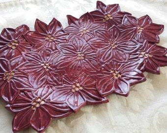Handmade Ceramic Red Poinsetta Serving Dish