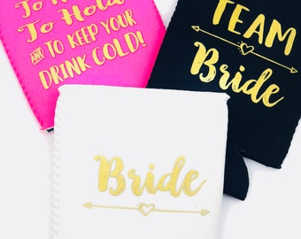 Bachelorette Party Favors | Bachelorette Can Coolers | Team Bride | To have and to hold | Bride| Pink Black White