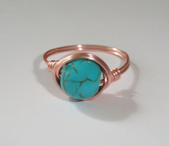 Rose gold turquoise ring Turquoise wire wrapped ring