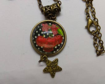 yummy cherry glass cabochon necklace