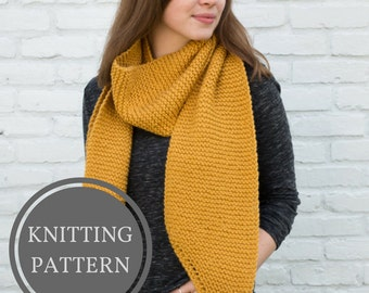 Louise Scarf Pattern | Beginner Knitting Pattern | Open Ended Scarf Pattern | Knit Scarf Pattern | Garter Stitch Scarf | Easy Knit Pattern