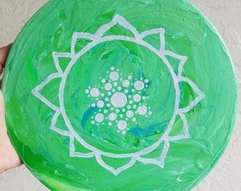 Heart Chakra Green Mandala Round Stretched Canvas Acrylic Painting