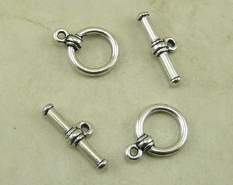 2 TierraCast Bar and Ring Plain Toggle Clasps - Basic Industrial Steampunk - Silver Plated Lead Free Pewter - I ship Internationally 6016