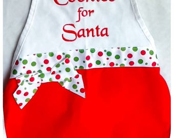 Childs Christmas apron.  Cookies for Santa