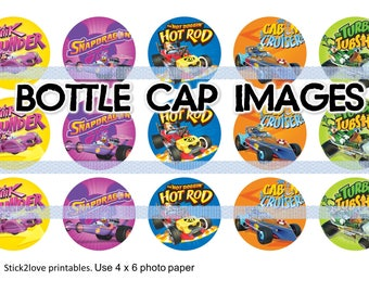 """Mickey and the road roasters cars  printables  4x6 - 1"""" circles, bottle cap images,"""