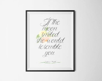 Sylvia Plath Floral Literary Print - Book Quote Poster
