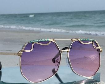 PURPLE Aviator Sunglasses Unisex Men Women, Wire Wrapped Artisan Sunglasses, SPUNGLASSES, Festival Sunglasses, Embellished Sunglasses, NEW